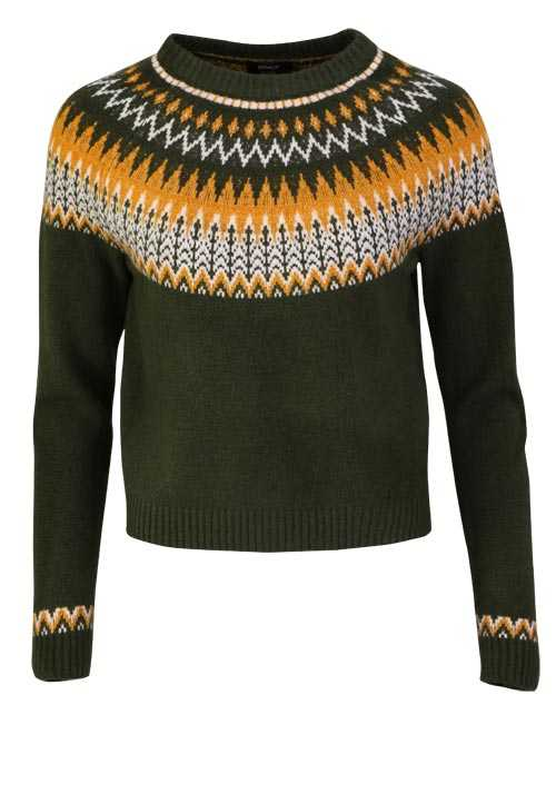 ONLY Langarm Pullover Rundhals Cropped Muster grün