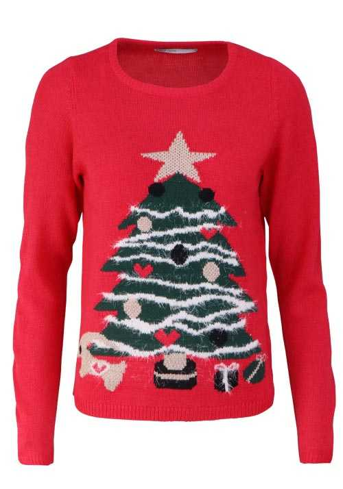 ONLY Langarm Pullover Rundhals Strick Christmas Tree rot