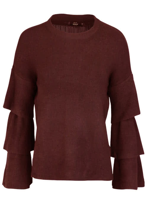 ONLY Langarm Pullover Rundhals Volant dunkelrot