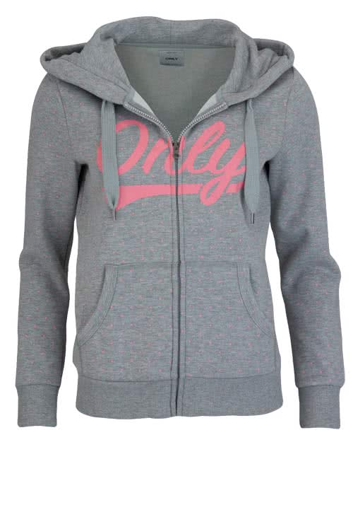 ONLY Langarm Sweatjacke Kapuze Allover Druck Muster grau