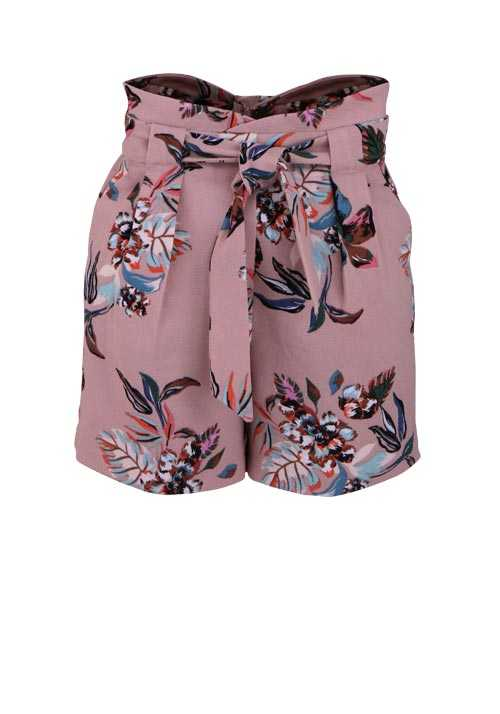 ONLY Shorts Floral Bindgürtel Allover Druck Muster rosa