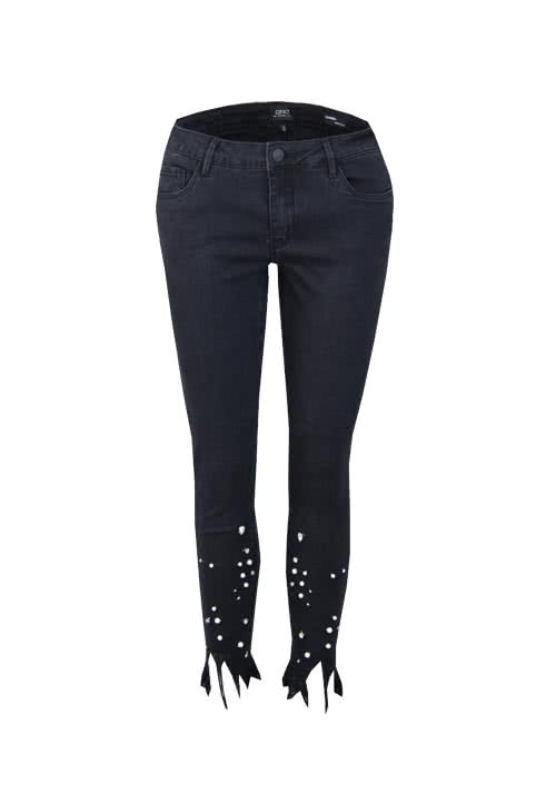 ONLY Skinny 7/8 Jeans Perlen Strass anthrazit
