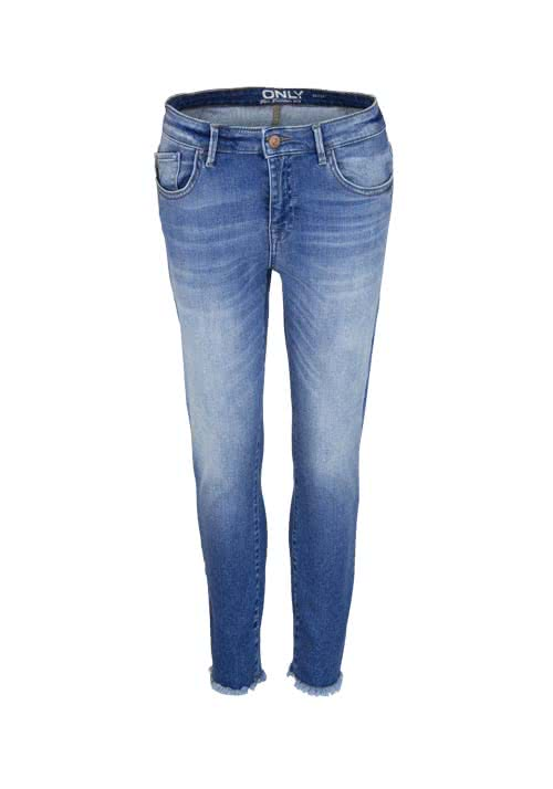 ONLY Skinny 7/8 Jeans Used ausgefranster Saum mittelblau