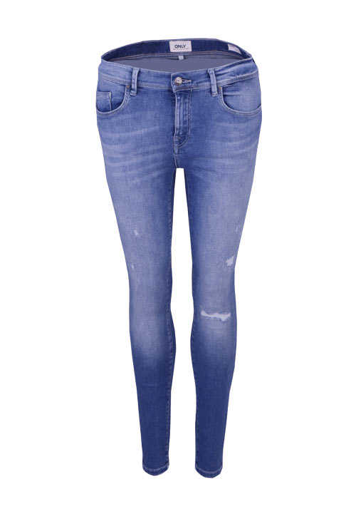 ONLY Skinny Jeans Used Destroy 5 Pocket Stretch mittelblau