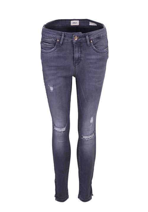 ONLY Skinny Jeans Used Destroy 5 Pocket Zipper mittelgrau