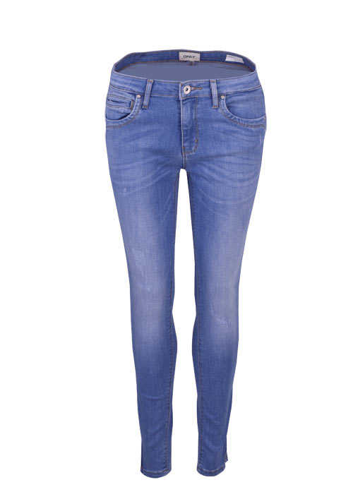 ONLY Skinny Jeans Used Destroy Zipper 5 Pocket mittelblau