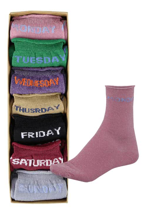 ONLY Socken 7-Pack Glitzergarn Wochentage Multicolor