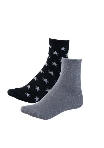 ONLY Socken 91/99-Glitter Socken 2er Pack 15147959/Black/Plain Silv