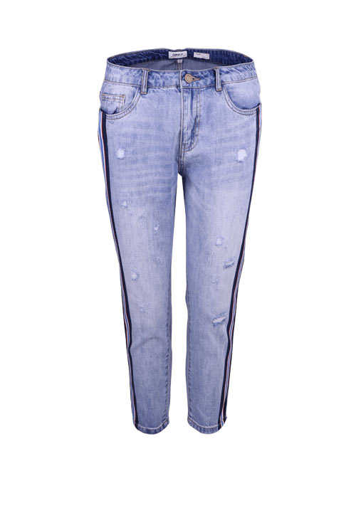 ONLY Straight Jeans 7/8 Länge Used Destroy 5 Pocket hellblau