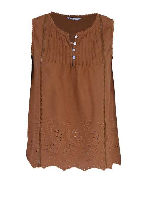 ONLY ärmelloses Blusentop Rundhals Spitze Loose Fit cognac