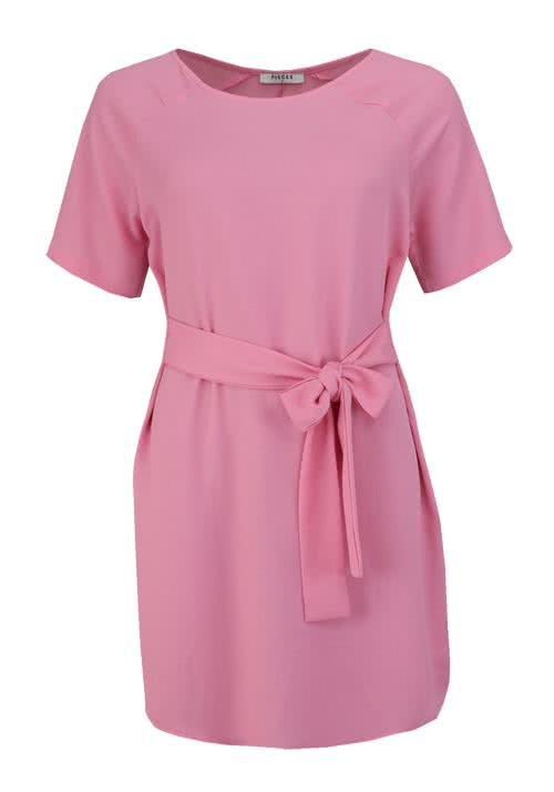 PIECES Kurzarm Kleid Rundhals Loose Fit Bindeband rosa