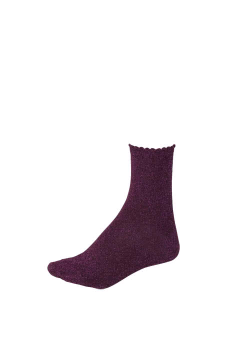 PIECES Socken Glitzer metallic Stretch beere