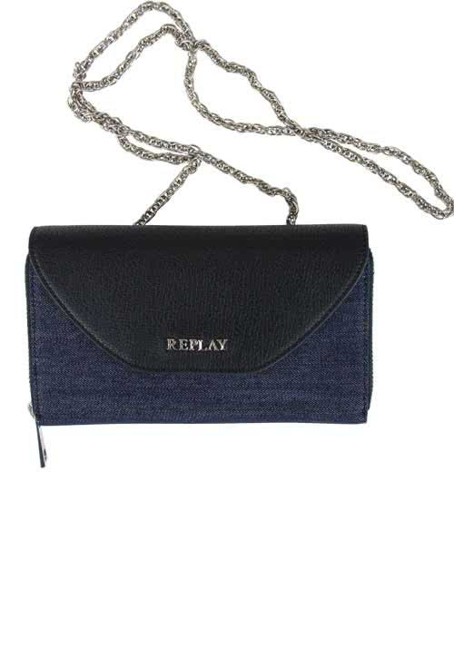 REPLAY Clutch Materialmix Denim/Lederimitat dunkelblau/schwarz
