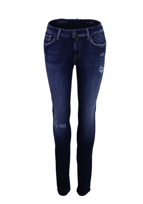 REPLAY HYPERFLEX Skinny Jeans NEW LUZ 5 Pocket destroyed dunkelblau