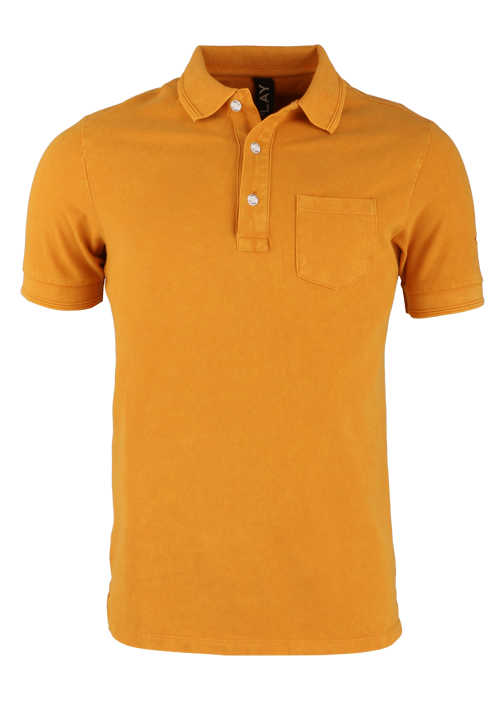 REPLAY Halbarm Poloshirt Polokragen geknöpft Brusttasche orange