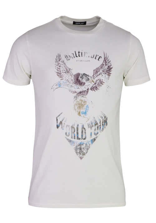 REPLAY Halbarm T-Shirt Rundhals Statement-Print ecru