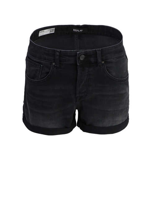 REPLAY Hotpants Button-Zipp-Verschluss 5-Pocket anthrazit