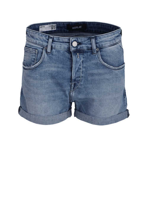 REPLAY Hotpants Button-Zipp-Verschluss 5-Pocket hellblau