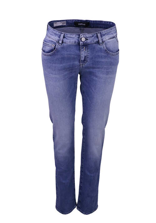 REPLAY Jeans Button-Zipp-Verschluss 5-Pocket mittelblau