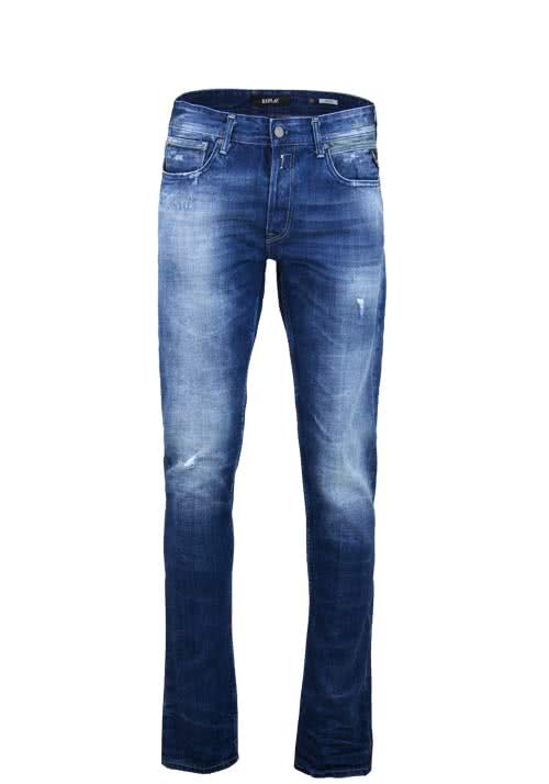 REPLAY Jeans GROVE Stretch Used Destroy mittelblau
