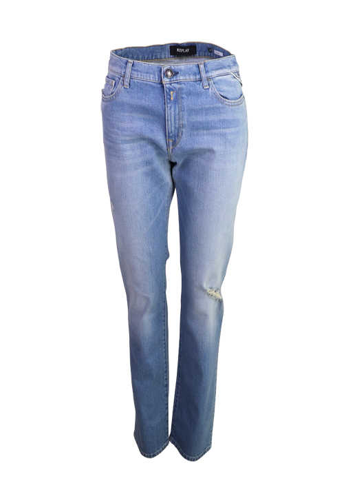 REPLAY Jeans JULYE Straight Leg Regular Waist 5 Pocket destroy mittelblau