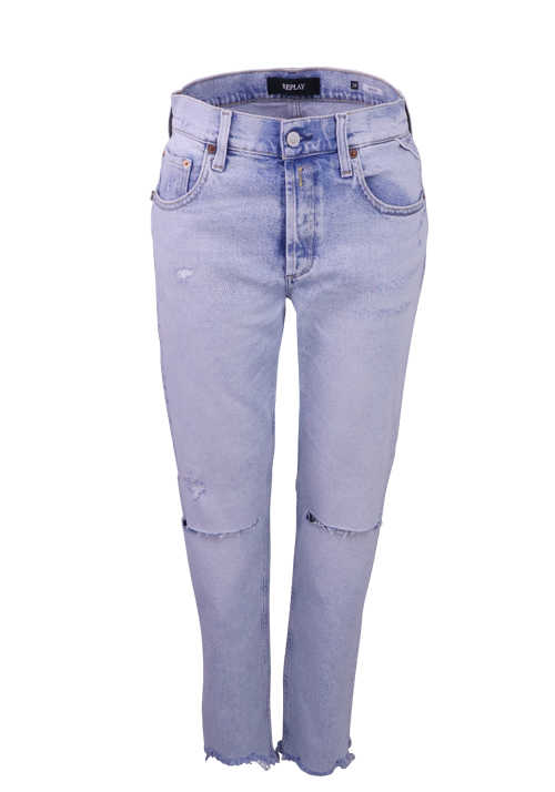 REPLAY Jeans MAIJKE High Waist Destroyed hellblau