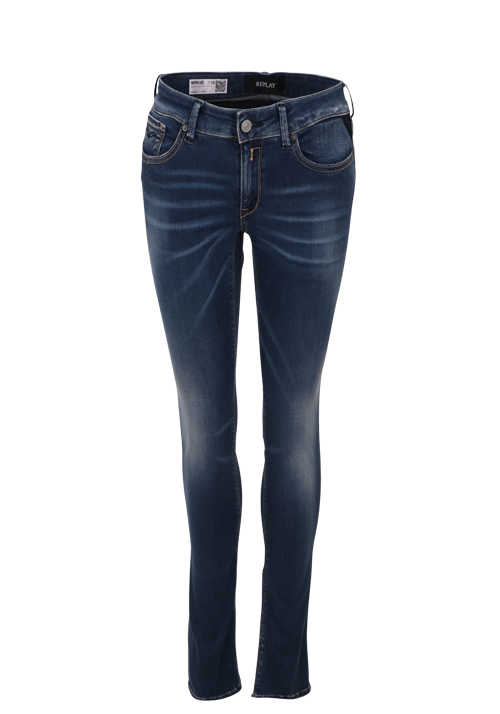 REPLAY Jeans NEWLUZ Button-Zipp-Verschluss Used dunkelblau