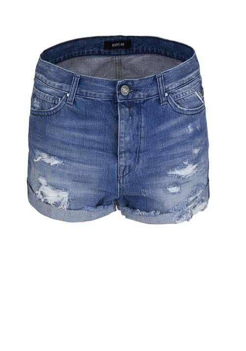 REPLAY Jeans-Short Used Destoy mittelblau