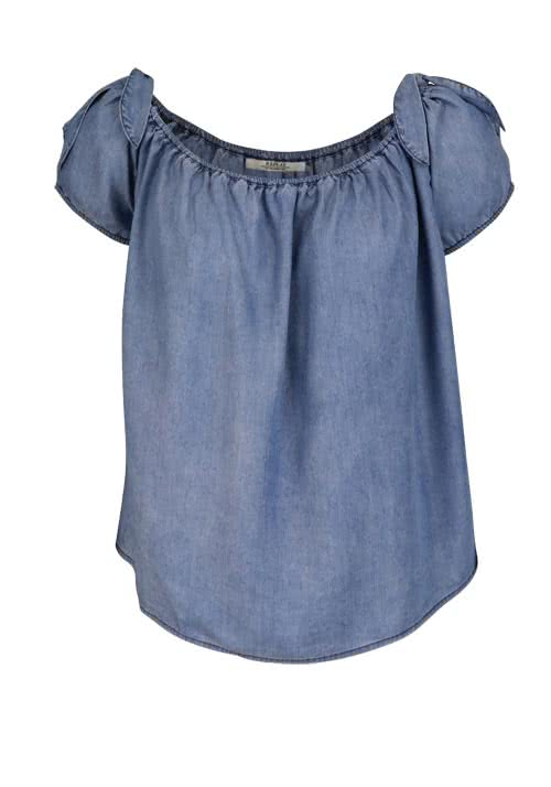 REPLAY Kurzarm Bluse Off-Shoulder Schleifen Oversize mittelblau