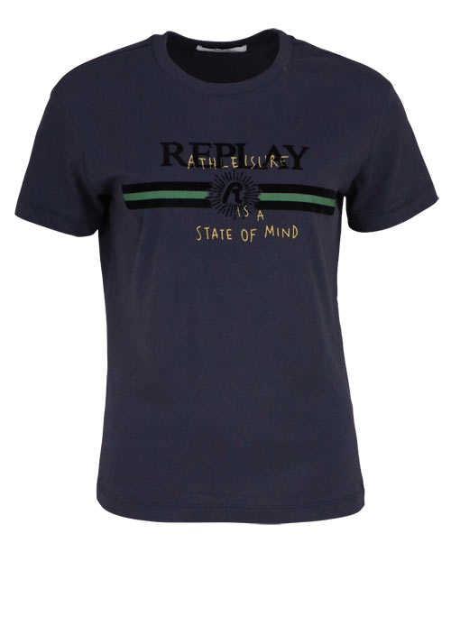 REPLAY Kurzarm T-Shirt Rundhals Logo Schriftprint anthrazit