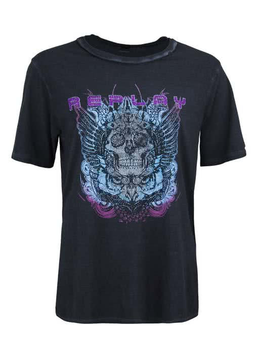 REPLAY Kurzarm T-Shirt Rundhals Statement-Print anthrazit