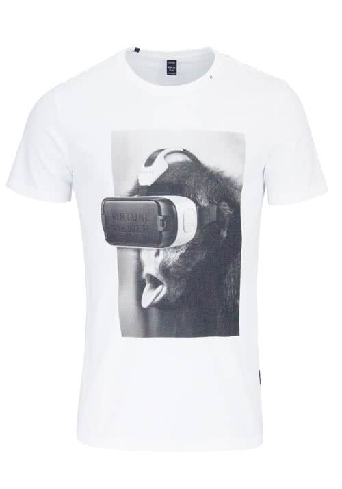 REPLAY Kurzarm T-Shirt Rundhals Statement-Print weiß