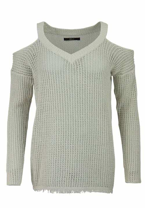 REPLAY Langarm Pullover V-Ausschnitt Cut Out Fransen beige