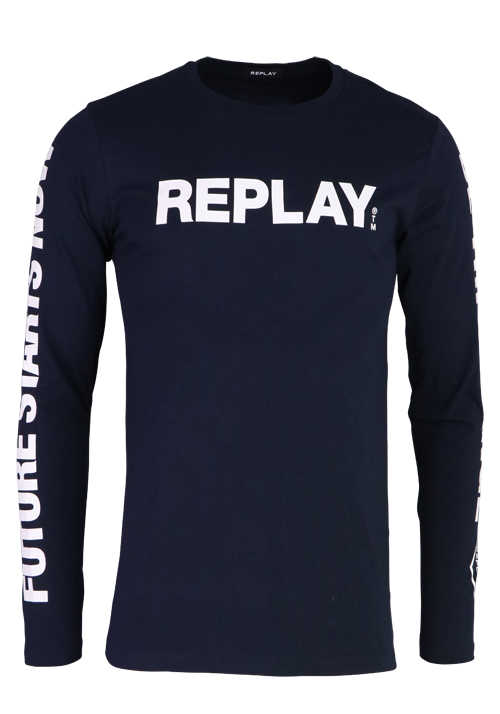 REPLAY Langarm Shirt Rundhals Schrift-Print navy