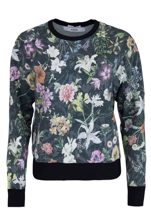 REPLAY Langarm Sweatshirt Rundhals Allover Druck Blumen Multicolor