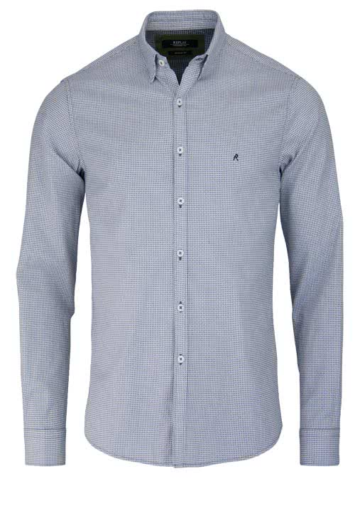 REPLAY Regular Fit Hemd Under-Button-Down Kragen Muster schwarz/weiß