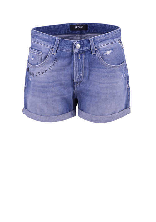 REPLAY Shorts Button-Zip-Verschluss Statement Print Used blau