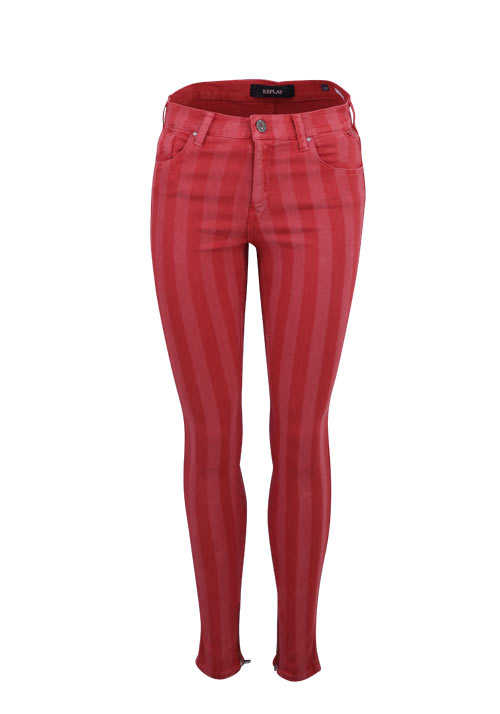 REPLAY Skinny Jeans Five Pocket gelasertes Streifenmuster rot