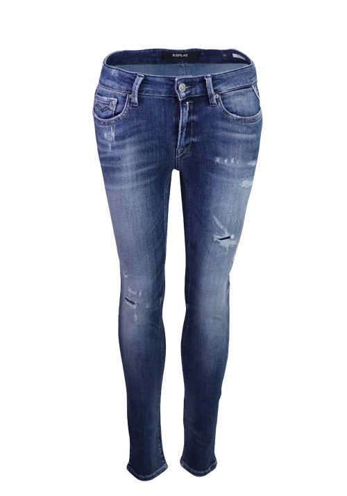 REPLAY Skinny Jeans NEW LUZ 5 Pocket Stone washed destroy mittelblau