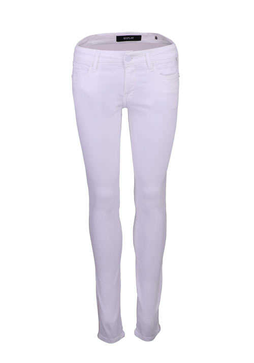 REPLAY Skinny Jeans Strass Kettenbesatz 5 Pocket weiß