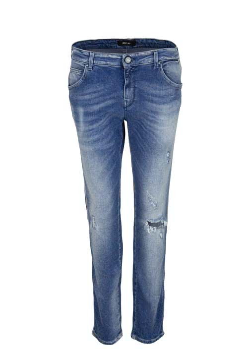 REPLAY Slim Fit Jeans KATEWIN Destroy Used mittelblau