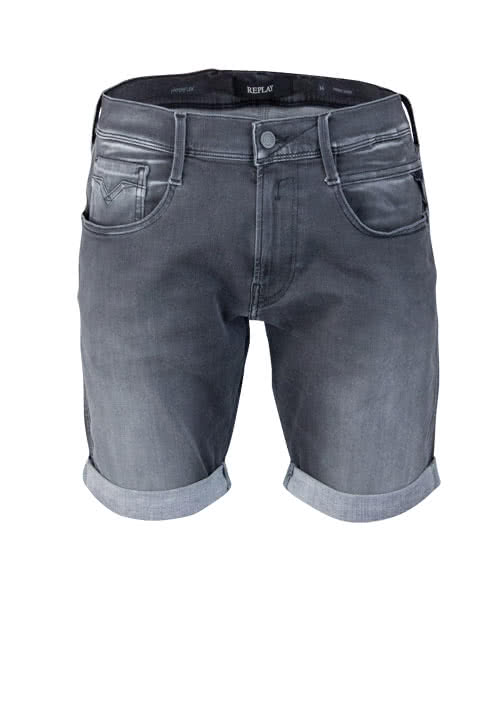 REPLAY Slim Fit Jeans Short Used Eingrifftschen anthrazit