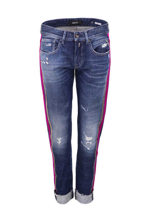 REPLAY Straight Jeans Used Destroy Samt Umschlag dunkelblau