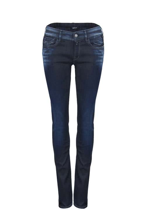 REPLAY Straight Jeans Vintagewaschung Stretch dunkelblau