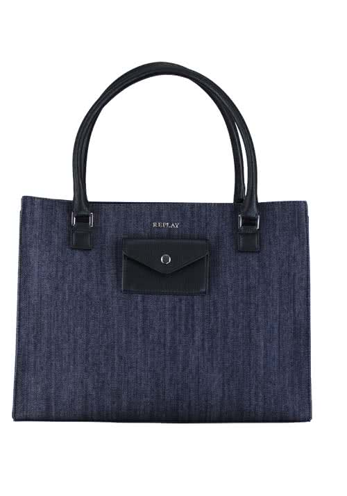 REPLAY Tasche Materialmix Denim/Lederimitat dunkelblau/schwarz