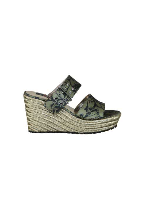 REPLAY Wedges Keilabsatz Blumenprint Muster oliv/schwarz/gold