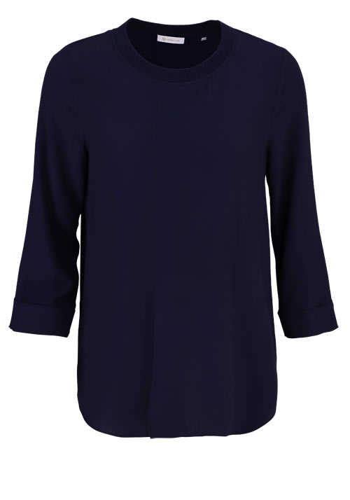 RICH&ROYAL 3/4 Arm Blusenshirt Rundhals Falte Loose Fit nachtblau