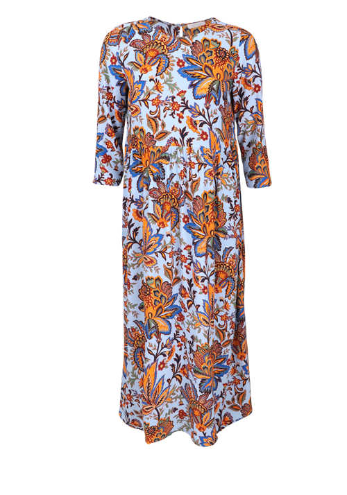 RICH & ROYAL 3/4 Arm Kleid Rundhals Paisley-Muster blau