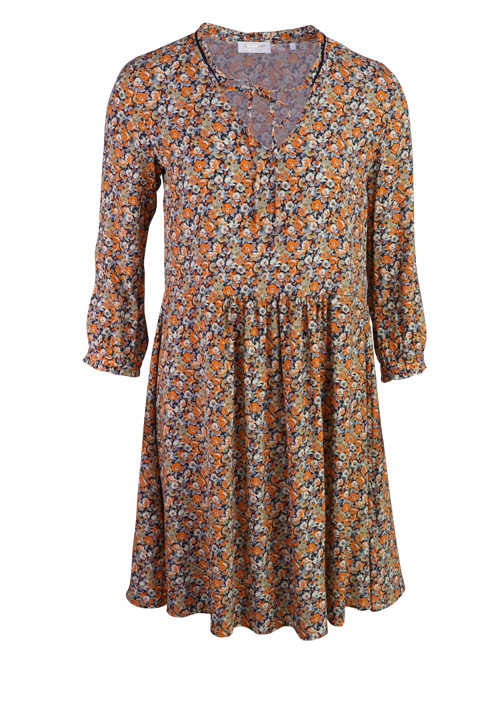 RICH&ROYAL 3/4 Arm Kleid V-Ausschnitt Floral Muster orange