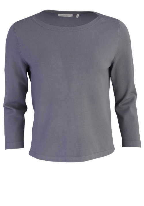 RICH&ROYAL 3/4-Arm Sweatshirt U-Boot-Kragen hellgrau